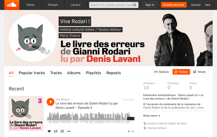 The audio book read by Denis Lavant, as presented on SoundCloud.