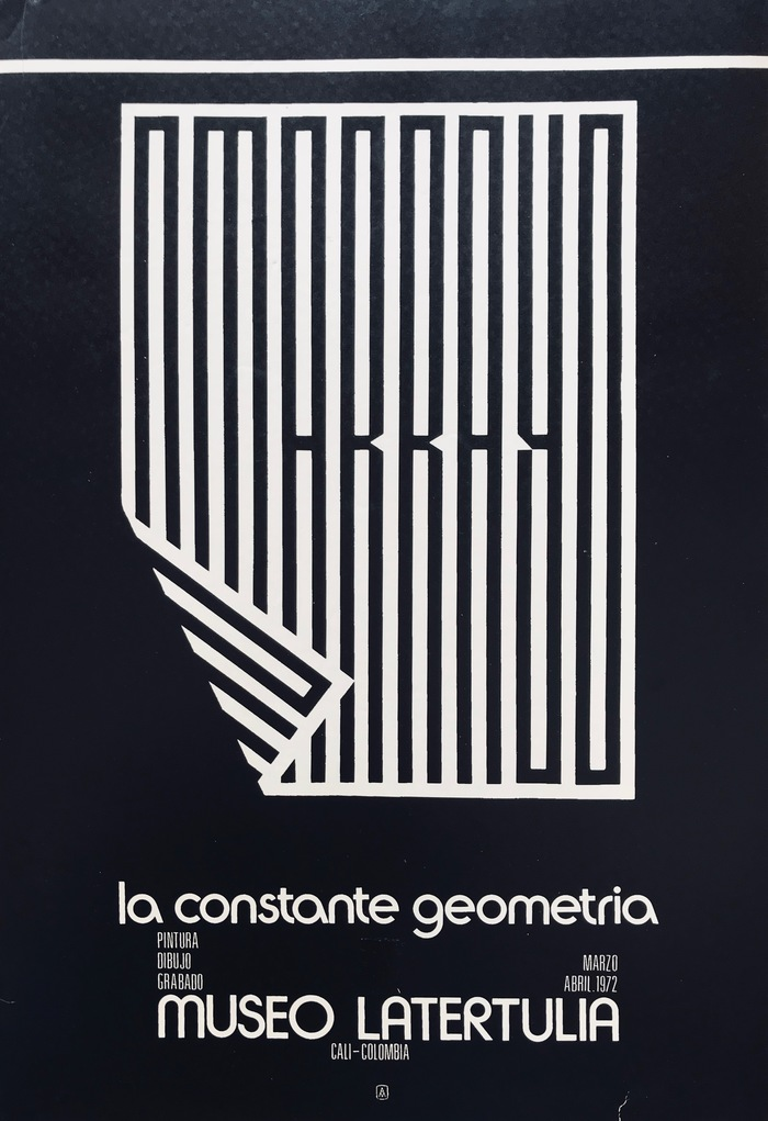 "Poster for La Constante Geometria (1972), ft. more  and  or similar. The big ""OMAR RAYO"" is probaby custom. For similar extracompressed digital fonts, see  or  Skyline."
