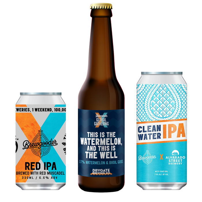 Examples of beers produced for the Brewgooder Global Gathering, using Elephant for headline type