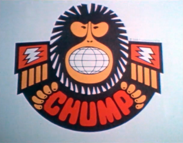 The squarish sans-serif caps with rounded corners used for the logo of C.H.U.M.P. (Criminal Headquarters for Underworld Master Plan) appear to be custom lettering.