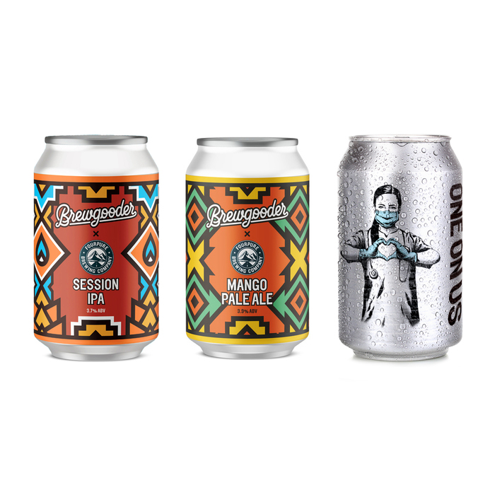 Examples of collaborations between Brewgooder and independent breweries, using Elephant for headline type