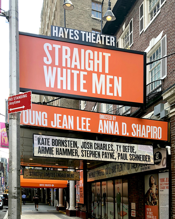 Helen Hayes Theater — exterior graphics in orange colourway for Straight White Men