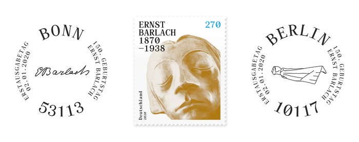First Day of Issue postmarks for Bonn (with Barlach's signature) and Berlin (with a lateral view of the floating angel), ft. all-caps Archive Mono set on a circle.