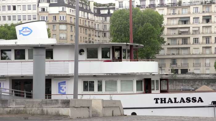The barge/studio of Thalassa on the river Seine in Paris.