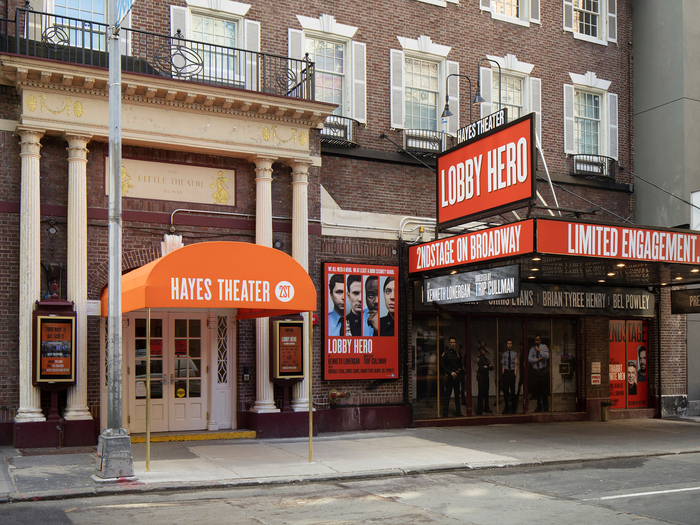 Helen Hayes Theater — exterior graphics in red colourway for Lobby Hero