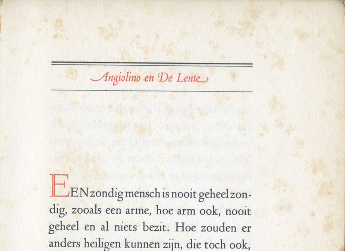 First page of the story, detail. The title of the story is set in red italics between thick-thin rules, using swash caps and a swash terminal.