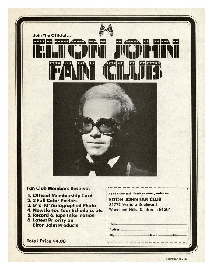 Elton John Fan Club ad (1974)