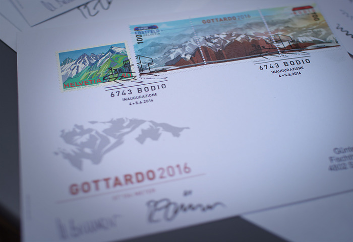 First Day Cover with special postmark from the Bodio post office in the Italian-speaking part of Switzerland.