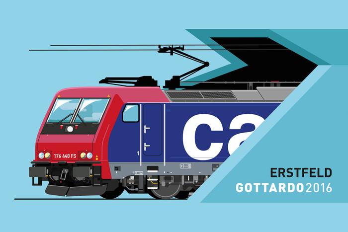 Accompanying postcard with an SBB cargo train,.