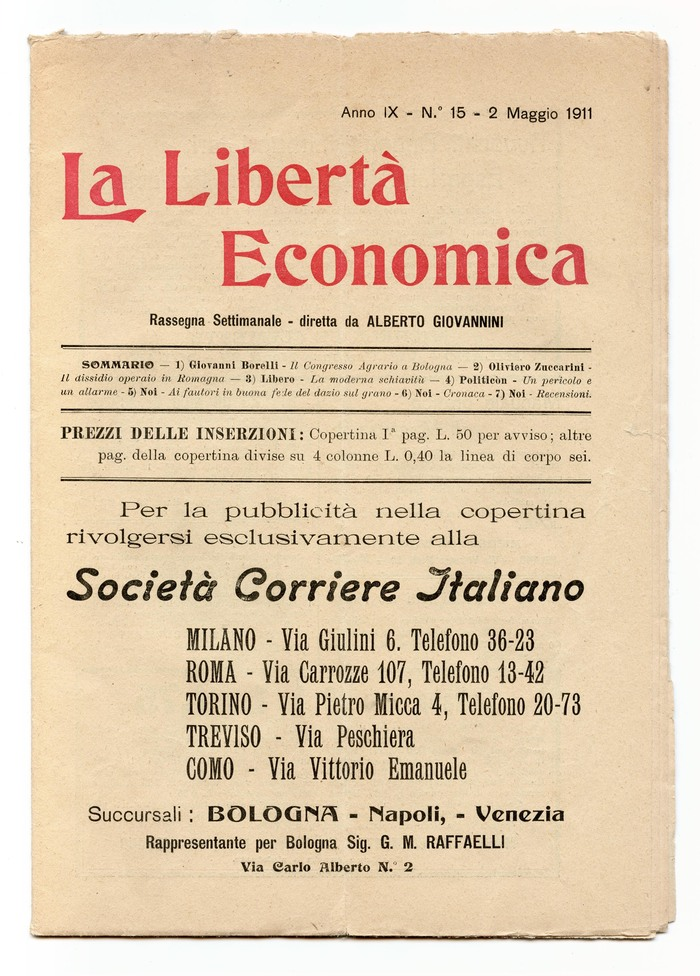 La Libertà Economica, Vol. IX, No. 15, May 2, 1911