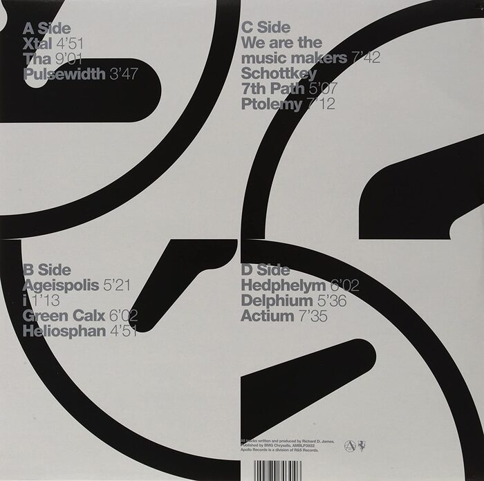 Double LP back cover (R&S Records), probably of a later repressing.