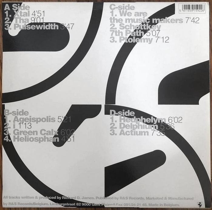 Double LP back cover (R&S Records). Headings for sides B to D are hyphenated. The prime in the duration is straight.