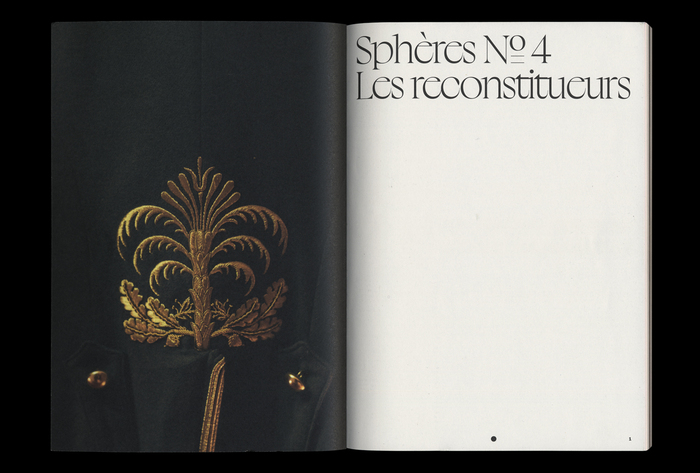 From Sphères no. 4, January 2021. Half title page set in Boogy Brut Poster.