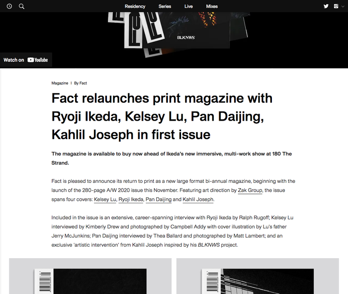 Fact magazine, Fall/Winter 2020 issue and website 8