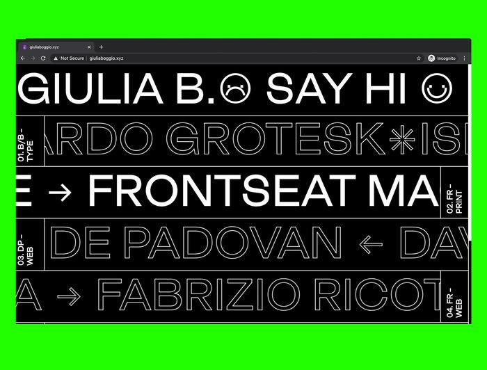 Giulia B. portfolio website 1