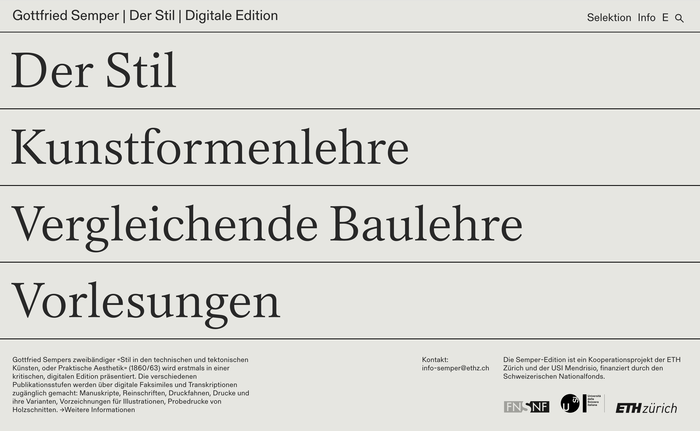 Gottfried Semper – Digital Edition website 1