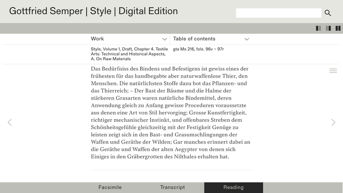 Gottfried Semper – Digital Edition website 4