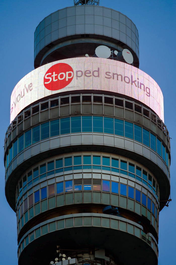 Digital display on the BT tower in London's Fitzrovia