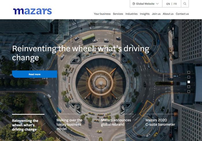 Homepage of the global website.