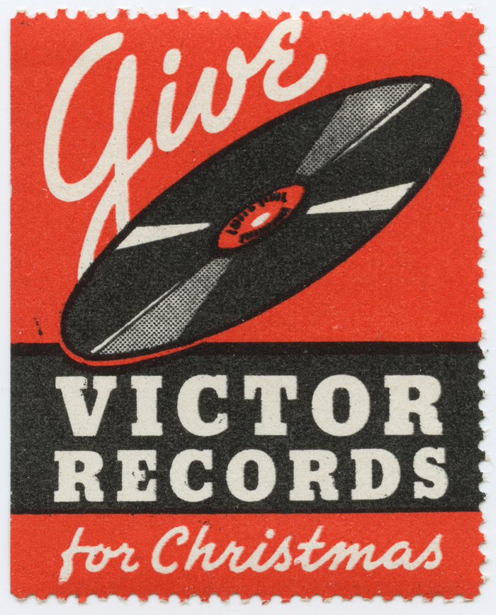 """Give Victor Records for Christmas"" stamp"