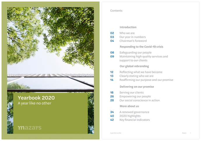 Yearbook 2020 cover and table of contents.