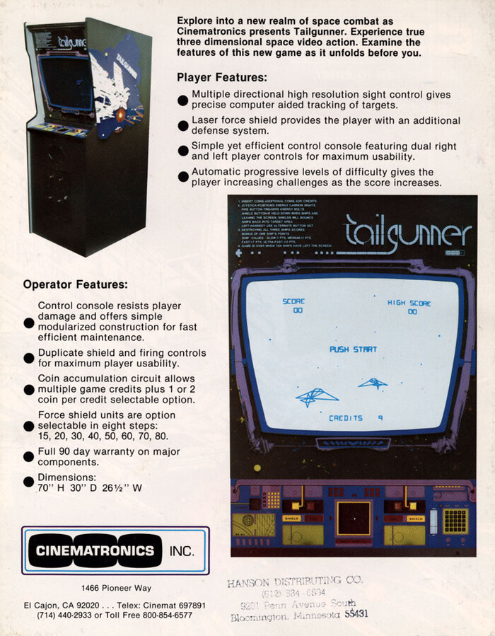 The back of the flyer lists the player and operator features and depicts the cabinet with the logo in Vincent.