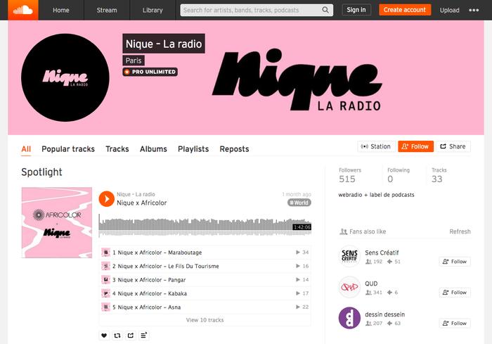 The Nique – la radio page on Soundcloud.