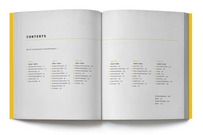 Table of contents design for Good Pictures: A History of Popular Photography, by Kim Beil (Stanford, 2019), designed by Kevin Barrett Kane.