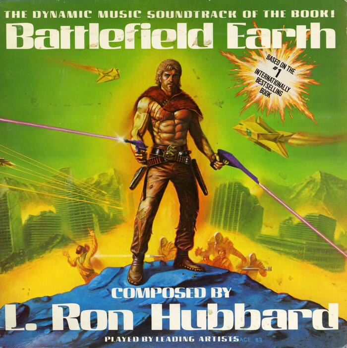 In 1984, the album was re-issued as Battlefield Earth, now directly referencing the book's title. Cover art by Gerry Grace.