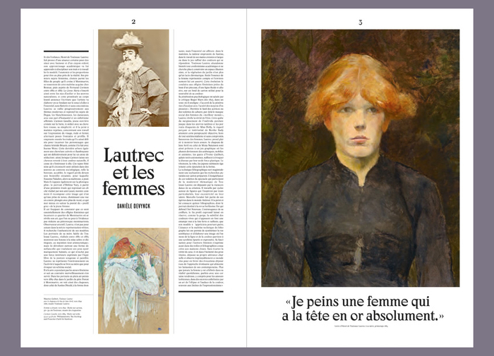 Spread from the exhibition journal with Danièle Devynck's text about Lautrec and women.