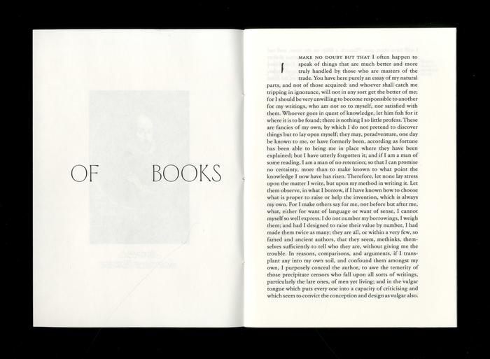 Opuscolo Editions #2, Of Books  by Michel de Montaigne 2