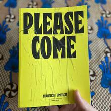 <cite>Please Come</cite> book and poster
