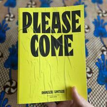 <cite>Please Come</cite> book and poster