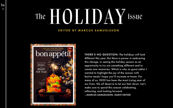 Bon Appétit, special holiday issue, December 2020 9