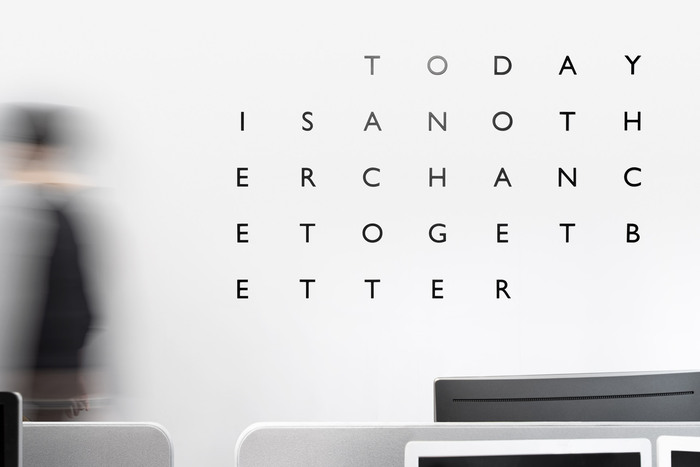 """""""Today is another chance to get better"""", presented in a matrix of  caps."""