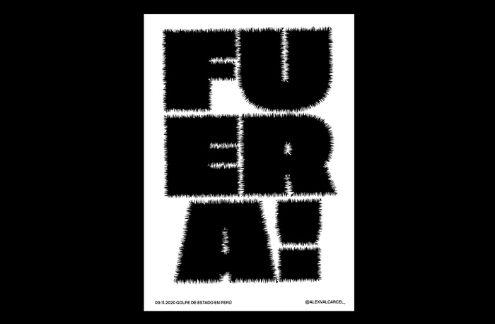 """FUERA! set in stretched and shivering Tusker Grotesk Super, translates to: """"OUT!"""""""