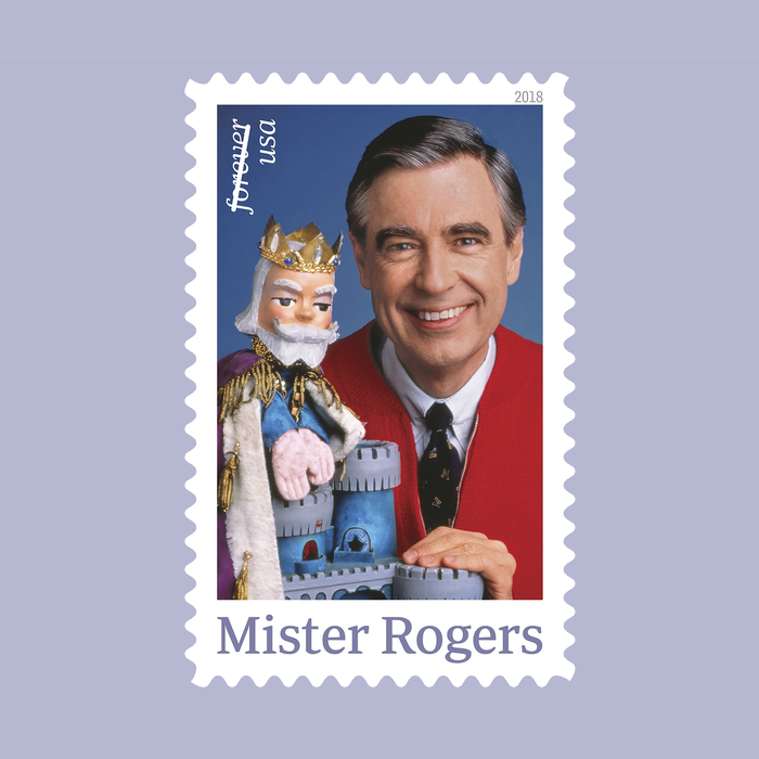 Stamp from March 2018 commemorating Mister Rogers (1928–2003), a popular American television host. Art director Derry Noyes of Washington, DC, designed the stamp.