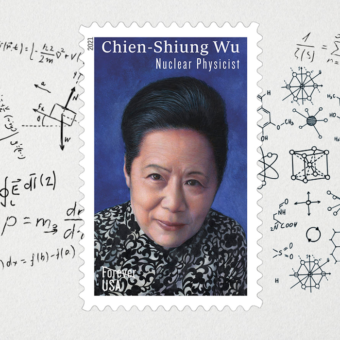 Issued in 2021, this stamp honors Dr. Chien-Shiung Wu (1912–1997), one of the most influential nuclear physicists of the 20th century. Art director Ethel Kessler designed the stamp with original art by Kam Mak.