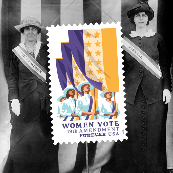 "The ""19th Amendment: Women Vote"" stamp was issued in August 2020, to commemorate the centennial celebration of the ratification of the 19th Amendment to the U.S. Constitution, guaranteeing women the right to vote. Art director Ethel Kessler designed the stamp using art by Nancy Stahl."