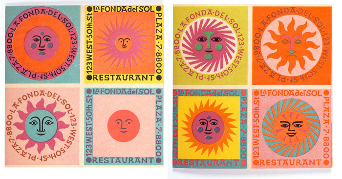 Design of La Fonda del Sol restaurant branding by Alexander Girard in 1960.