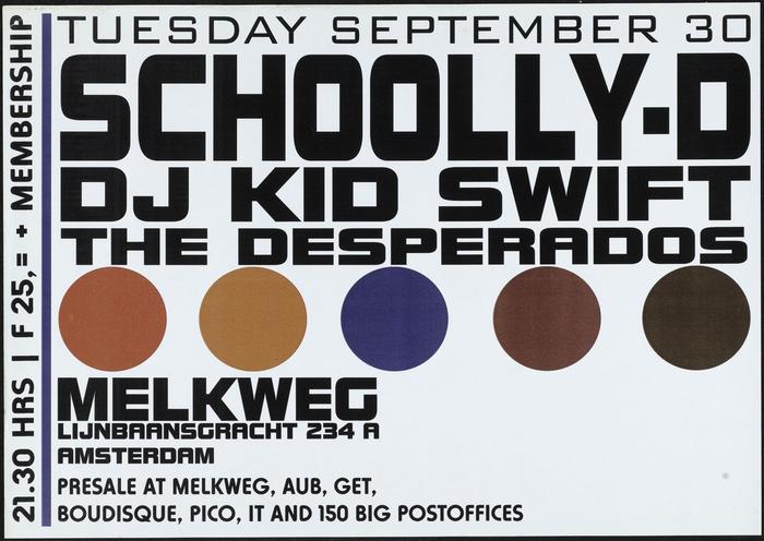 Schoolly-D and DJ Kid Swift, Melkweg gig poster