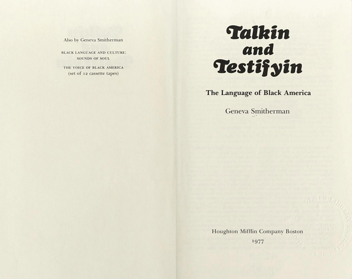 Title page of the Houghton Mifflin edition.  Italic is used for the title (with swash caps), and  for other text.