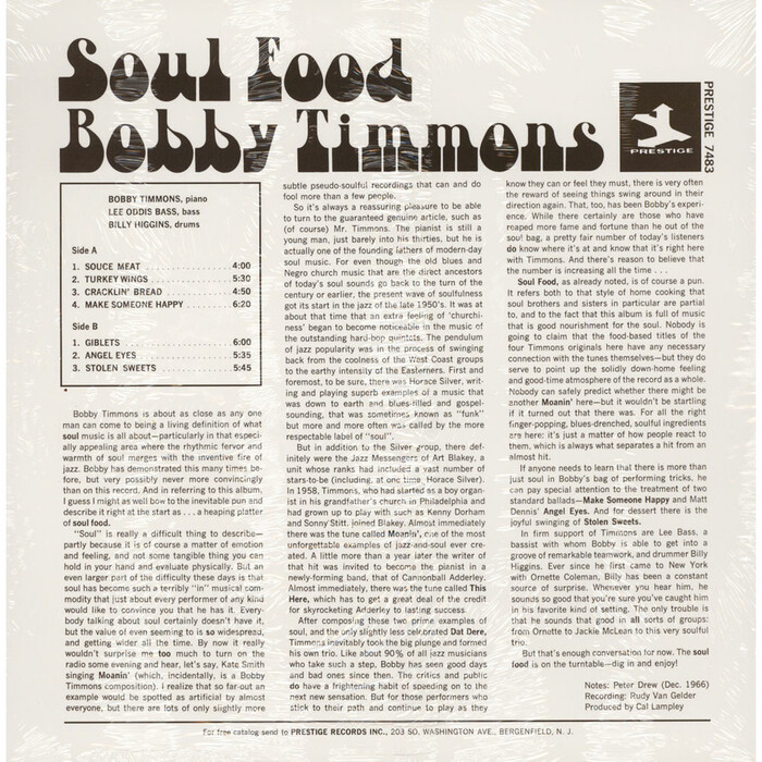 The back cover shows the title and the artist's name in undistorted Art Tone, with track listing and liner notes set in .