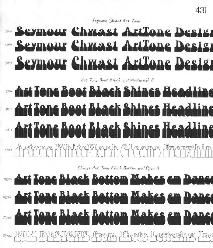 Chwast Art Tone and variants as shown in Photo-Lettering's Alphabet Thesaurus, Vol. 3 from 1971. Each style is shown in normal (n), extended (e) and condensed (c) variants. Such additional widths were created mechanically, and were infinitely variable.