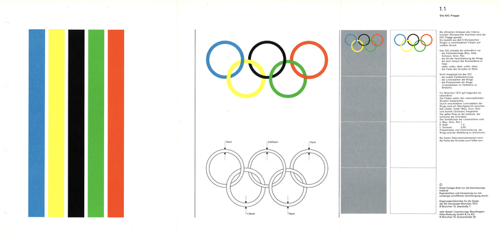 1.1 The IOC Flag:  For Munich 1972 the different line widths of the rings create a balance between light (yellow), medium (blue, green, red) and dark (black) colours: the yellow ring has the thickest line, while the black has the slimmest.