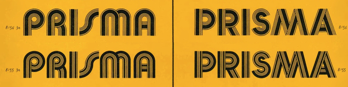 Detail from Photo-Lettering's Art Deco booklet (1970), designed by Ed Benguiat. Bauhaus Prisma (left) has round shapes, Prisma Graphic (or Futura Prisma) stays closer to conventional shapes as found in Futura. As the series numbers indicate, these stylistic variants were actually part of the same film font.