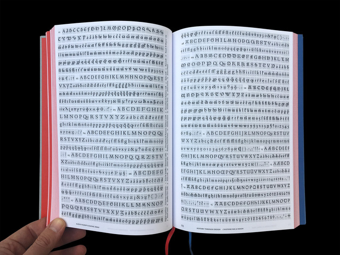 Spread with glyph sets of the 15 digital Gotico-Antiqua revivals. Not shown here are the .