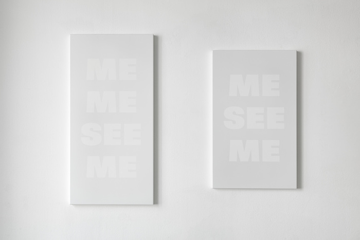 "Two paintings from the series I, myself, 2002/03 ""comprising 18 pale grey text-paintings in different sizes""."