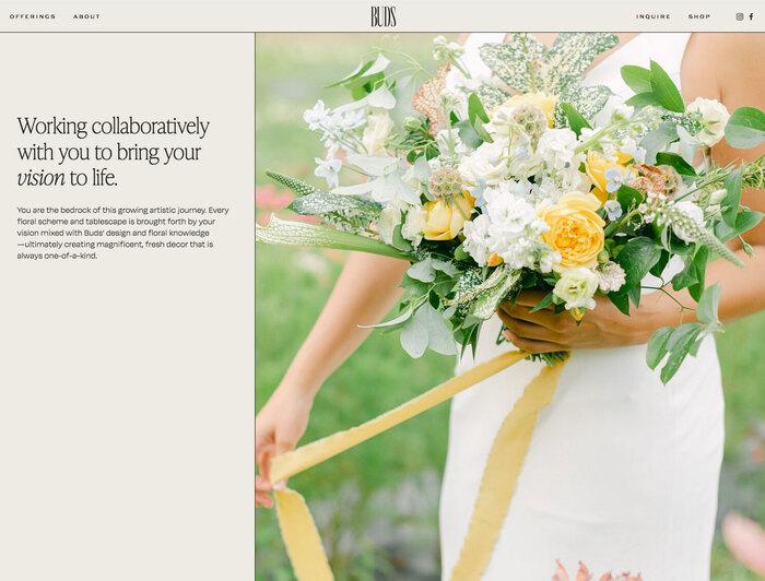 Buds Floral Design website 4