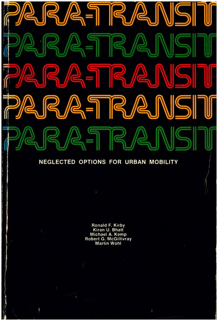 Para-Transit: Neglected Options for Urban Mobility 1